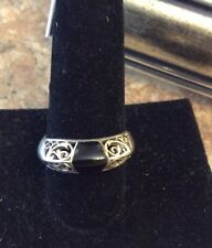 Black Onyx Sterling Silver Filigree Ring 9.5 Pre-Owned