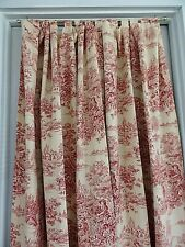Toile Tab Top Drapes/Panels~One Pair Country Life~Red & Cream~Double Lined~EUC~