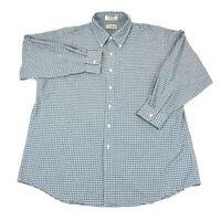 LL Bean Mens Checked Shirt Long Sleeve Sz XL 18-33 Green Blue Gingham