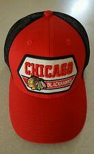 NEW Chicago Blackhawks ADULT Adjustable Trucker Hat ONE SIZE Snap Back BRIM  CAP 597fa7571c3e