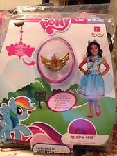 Girls My Little Pony rainbow Dash Dress Halloween Costume + Bonus Necklace
