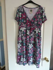 Ladies Mantaray Tea Wrap Midi Dress Multi Floral Grey Size 20
