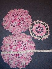 Vintage Crochet Doilies Set Of 3 Variegated Pinks