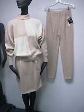 VTG WOMENS ST JOHN BEIGE & WHITE WOOL CASHMERE SWEATER SKIRT PANTS SUIT NWT 2-4