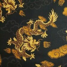 CHINESE DRAGONS Black Gold Metallic 100% Cotton Fabric BY THE YARD