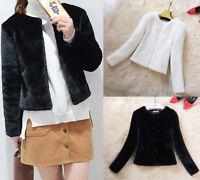 Womens Ladies Luxury Faux Fur Coat Short Jacket Warm Winter Slim Parka Outerwear