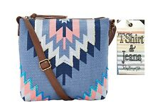 T-Shirt & Jeans Crossbody Bag Purse Blue Pink Aztec Geometric Design NWT $36.