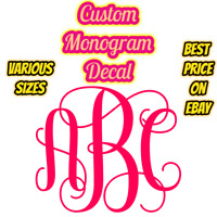 Monogram Custom Vinyl Decal Sticker Wall Custom Personalized Name Window