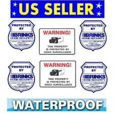 (6) Home Security Alarm Window Warning Stickers - Brinks + Surveillance Cameras