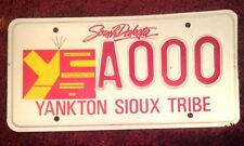 SOUTH DAKOTA INDIAN YANKTON SIOUX TRIBE TRIBAL VEHICLE LICENSE PLATE AUTO TAG SD