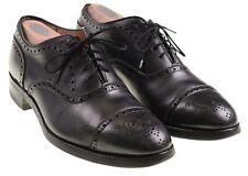 Alden 909 Black Calfskin Leather Medallion Tip Cap Toe Oxford Dress Shoes 7.5 D