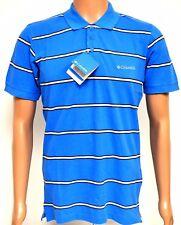 Columbia Homme Fern Ridge Polo Shirt bleu gris à rayures PETIT Sportswear