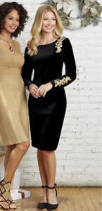 Midnight Velvet Black Velvet Party Cocktail Gold Applique Dress Size XL