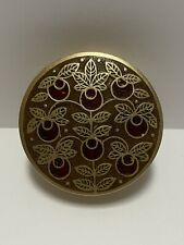 New ListingAntique Brass Trinket Box - Made In India - Green Leaves With Red Fruit