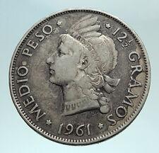 1961 DOMINICAN REPUBLIC Silver Liberty LIBERTO Arms Antique Silver Coin i79806