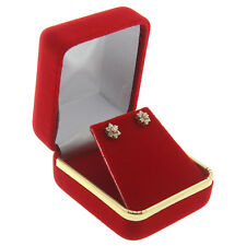Red Velvet Stud Earring Box Display Jewelry Gift Boxes Gold Trim 1 Dozen