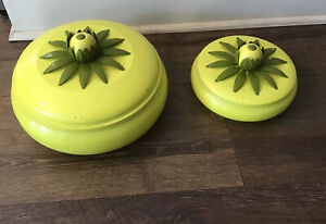 2 Mid Century Modern Atomic Metal Pots W/ Lids Yellow Green Flower Pineapple