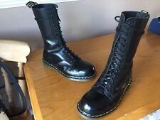 Vintage Dr Martens 1940 Negro Botas De Cuero UK 7 EU 41 Hecho en Inglaterra Puntera De Acero