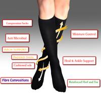 Compression Socks 4-6 Black Nurses Work Foot Relief Thermal Circulation Walking