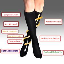Compression Socks Black Nurses Work Foot Relief Thermal Circulation Walking 7-9