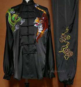 Silk Embroidery Shaolin Kung fu Tai Chi Uniform Martial arts Wing Chun Suit