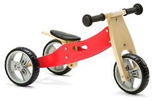 Nicko NIC807 Red Mini Convertible Wooden Balance Bike Toddler Trike 18 months+