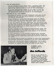 1970s JIM JEFFORDS Vermont CONGRESS US House POLITICAL Brochure SHREWSBURY VT