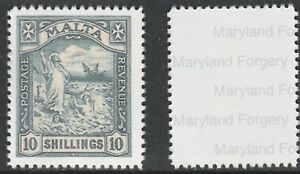 Malta 7770 - 1919 SHIPWRECK 10s black - a Maryland FORGERY unused