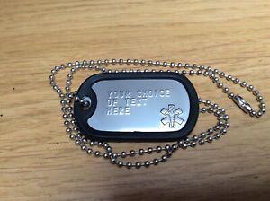 Medical Alert Personalised Stainless Steel Dog Tag Army US Military Embossed ID