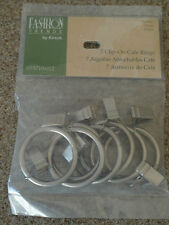 New Kirsch Levolor CLIP-ON RINGS Cafe' Rod Pole Rings - Pack of 7 - PEWTER COLOR