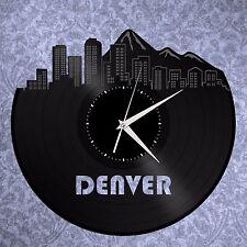 Denver Skyline Vinyl Wall Clock Cityscape Unique Gift Large Exclusive Home Decor