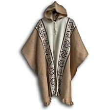 LLAMA WOOL MENS UNISEX SOUTH AMERICAN PONCHO CAPE COAT JACKET CLOAK