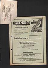 MANNHEIM-KÄFERTAL, Prospekt Preisliste 1935, Otto Christ Drahtgeflecht-Fabrik