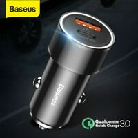 Baseus Dual USB Fast Car Charger 36W Quick Charge 3.0 for Apple iPhone Samsung