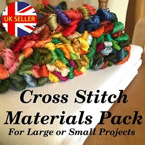 Cross Stitch Materials Pack Fabric Threads Choose Your Colours and Fabric Count