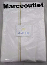 Matouk Essex Cotton Percale Full / Queen Flat Sheet White / Champagne