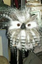 "New 7"" Fluffy Flatback Owl Fuzzy Hanging Ornament Wreath Florals"