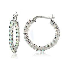 925 Silver 1.68ct Lab Created White Opal Hoop Earrings