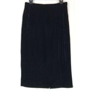 Bobeau size Large skirt black velvet pullon midi L A4308