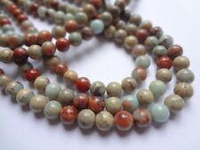 "8mm Round Natural Serpentine Aqua Terra Jasper Gemstone Beads - Half Strand,7.5"""