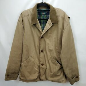 Vintage J Crew Mens Flannel Lined Barn Coat Canvas Field Jacket Sz XLT Insulated