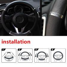 Car Steering Wheel Cover AUTO Car 38cm Black Carbon fiber Leather