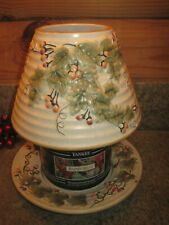 Yankee Candle Large Shade Plate Embossed Holly Berries Ivy Fall Autumn Winter