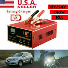 Car Motorcycle Lead Acid Battery Charger Full Automatically 12V/24V 10A 140W