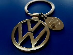 Personalised Chrome VW Keyring In Gift pouch with your message ANY TEXT vw t5 t4