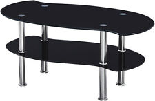 Colby Coffee Table In Clear/Black or Black Glass With Chrome Legs Free Delivery