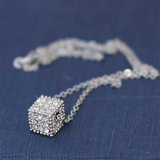 w Swarovski Crystal 3D Dice Cube Square Celebrity Jewelry Pendant Chain Necklace