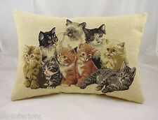 "Cat Kitten Woven Belgian Tapestry Cushion Cats Kittens LB027 18"" x 13"""