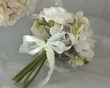 vintage wedding bouquet posy champagne roses & hydrangea