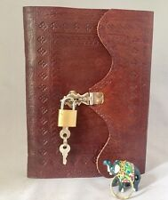 Lock Leather Diary Large with Key Ring Journal Orgaiser embossed design recycled